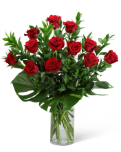 Red Roses with Modern Foliage (12)