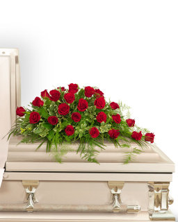 24 Red Roses Casket Spray